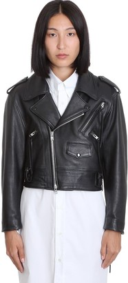 Maison Margiela Leather Jacket In Black Leather