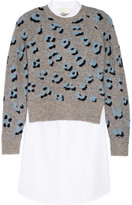 3.1 Phillip Lim Stretch-knit jacquard and cotton Oxford mini dress