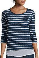 Liz Claiborne 3/4-Sleeve Stripe Layered Pullover Shirt - Petite