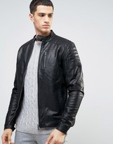 Solid Leather Biker Jacket With Quilting