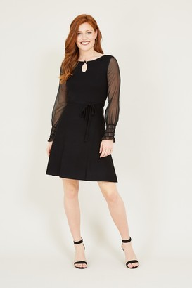 Yumi Black Sheer Skater Dress