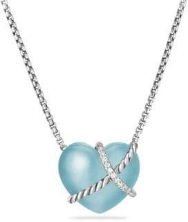 David Yurman Le Petit Coeur Sculpted Heart Chain Necklace with Gemstone and Diamonds
