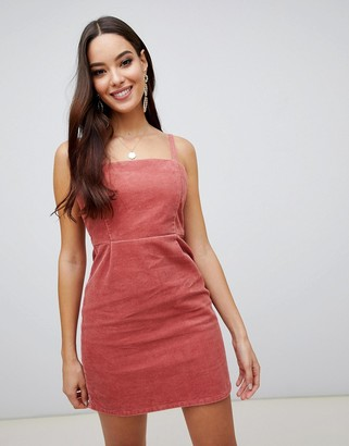 Asos Design DESIGN cord dress with skinny straps in red brick