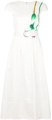 Tibi Floral Print Detail Midi Dress