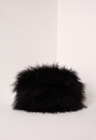 Missguided Feather Clutch Bag Black