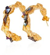 Niza Huang Sterling Silver 22ct Gold Yellow Plated Titanium Rainbow Quartz Hoop Earrings