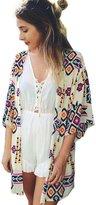 ACEFAST INC Vintage Women Girls Floral Print Long Loose Kimono Jacket Coat Cardigan Blouses (L, )