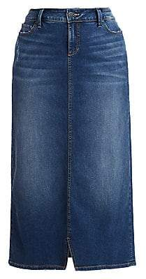 Slink Jeans, Plus Size Women's Ruby Slit-Front Denim Skirt