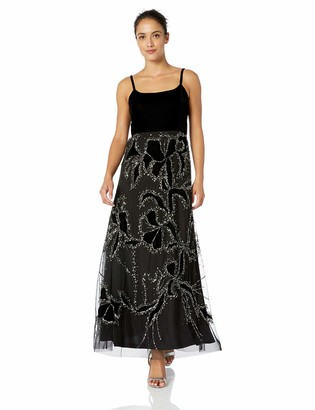 Adrianna Papell Women's Petite Sleeveless Beaded Long Dress with Velvet Bodice