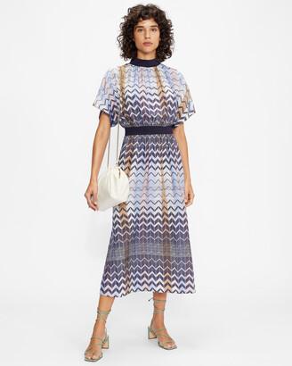 Ted Baker SAMII Geo printed rib detail midi dress