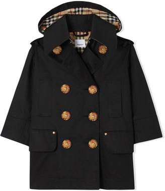 BURBERRY KIDS Detachable Hood Showerproof Cotton Trench Coat