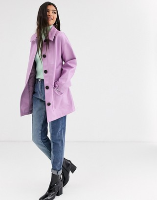 Asos Design DESIGN button through leather look belted jacket in lilac-Purple