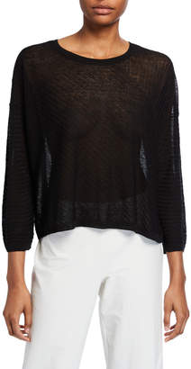 Eileen Fisher Crepe Mixed Rib Stitch Long-Sleeve Sweater