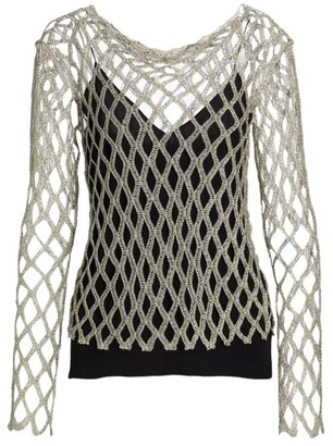 Rosetta Getty Layered Metallic Yarn Mesh Top