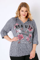 """Yours Clothing Denim Blue """"Beauty Is Hidden"""" Slogan Popper Hooded Top With Bubble Hem"""
