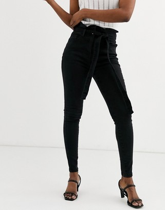 Parisian skinny jeans with paperbag waist