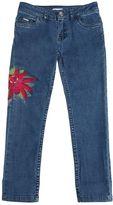 Junior Gaultier Floral Embroidered Stretch Denim Jeans