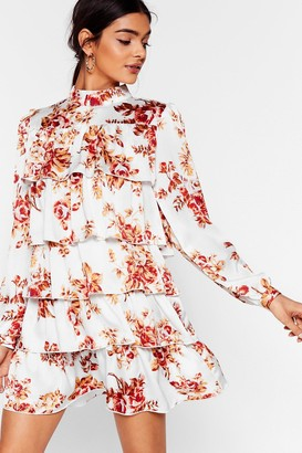 Nasty Gal Womens On a High Neck Floral Mini Dress - White - 4