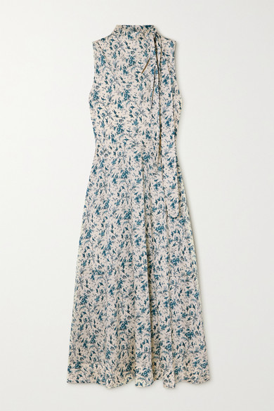 Thumbnail for your product : Victoria Victoria Beckham Tie-neck Printed Recycled Twill Dress - Blue