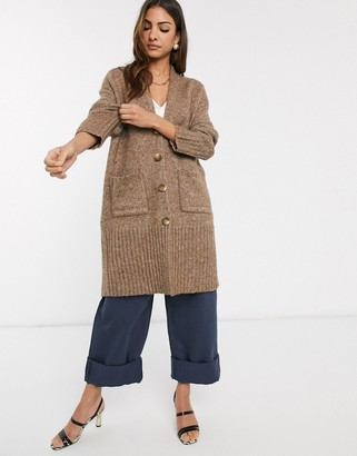 Y.A.S knitted long line cardigan in camel