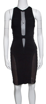 Herve Leger Black Mesh Insert Metallic Trim Racer Back Bandage Dress S