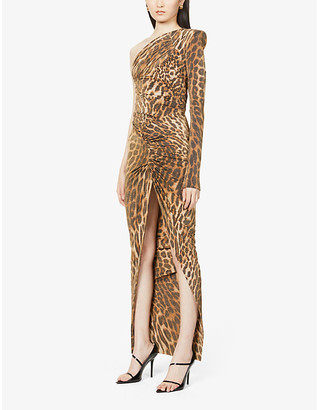 Alexandre Vauthier Leopard-print one-shoulder woven maxi dress