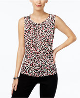 Tahari ASL Printed Pleat-Neck Cami Top