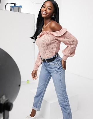 Miss Selfridge frill bardot sweater in pink