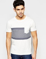 Selected T-Shirt with Stripe Panel