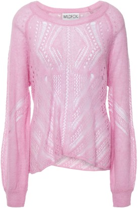 Wildfox Couture Draped Pointelle-knit Sweater
