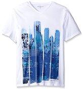 Calvin Klein Jeans Men's Short Sleeve Cityscape Blocks V-Neck T-Shirt