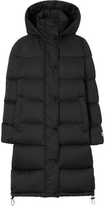 Burberry Detachable Hood Monogram Puffer Coat