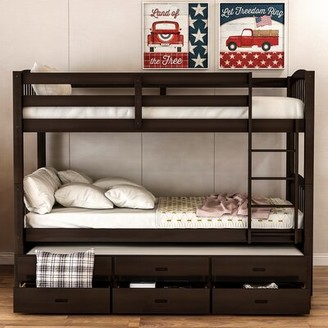 Harriet Bee Teplin Twin over Twin Bunk Bed with Trundle Bed Frame Color: Espresso