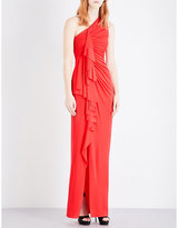 Givenchy Ruched jersey asymmetric gown