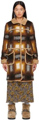 Anna Sui Orange & Brown Faux-Shearling Ombre Plaid Coat