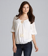 Chelsea & Violet Embroidered Peasant Blouse
