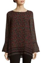 Max Studio Boatneck Bell Sleeve Printed Top