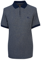 Pretty Green Saunton Stripe Jacquard Polo Shirt, Navy