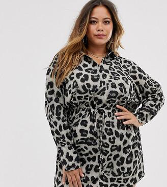 AX Paris Plus grey snake batwing shirt dress