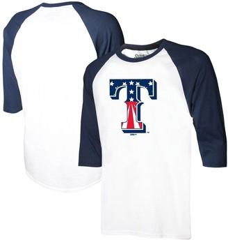 Stitches Youth White/Navy Texas Rangers Stars & Stripes American Raglan 3/4-Sleeve T-Shirt