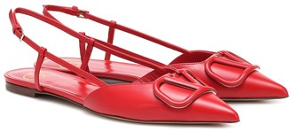 Valentino VLOGO leather slingback ballet flats