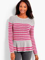 Talbots Striped Cable Peplum Sweater