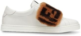 Fendi FF motif fur panel sneakers