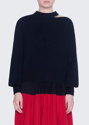 Akris Punto Wool-Cashmere Slit-Neck Full-Sleeve Sweaters