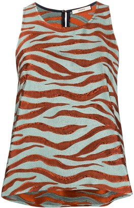 Odeeh Textured Animal Print Vest Top
