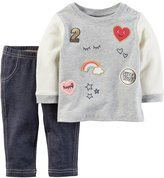 Carter's Baby Girl Patch French Terry Top & Faux-Denim Leggings Set