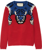 Gucci Embellished Intarsia Wool Sweater - Red