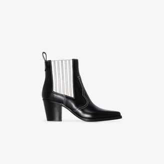 Ganni black 60 Western leather ankle boots