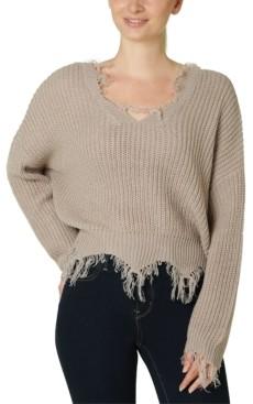 Polly & Esther Juniors' Destructed V-Neck Sweater