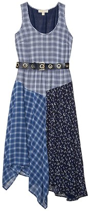 MICHAEL Michael Kors Print Mix Tank Top Dress (Chambray) Women's Dress